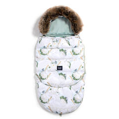 LA MILLOU Aspen Winterproof Stroller Bag Combo Śpiworek do wózka Heron in a Cream Lotus & Smoke Mint