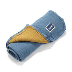 La Millou Biscuit collection Kocyk light 100% COTTON muslin - Navy & Honey