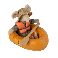 Maileg Ponton dla myszki - Rubber boat Mouse - Dusty yellow